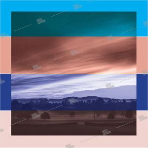album artwork with a landscape