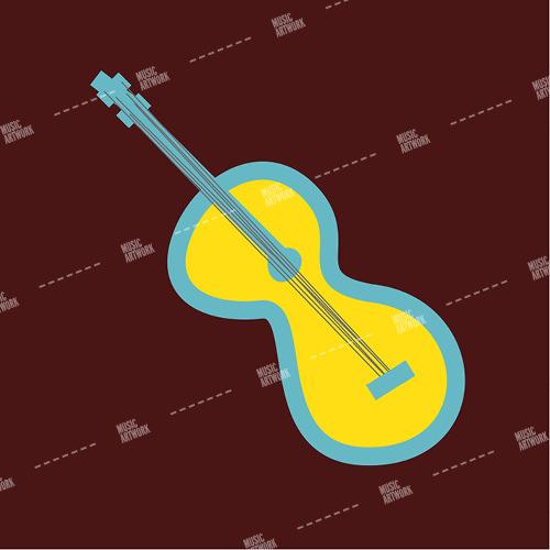 music album art with a guitar sketch