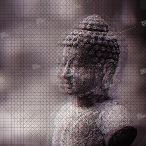 Music album artwork with a Buddha