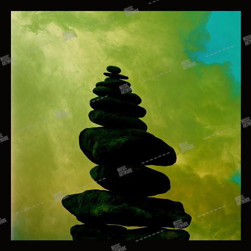 Music album artwork with stones