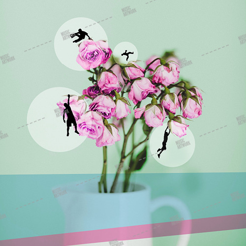 Music album artwork with man hanging on flowers