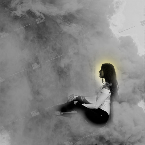 Music album artwork with a girl in a cloud