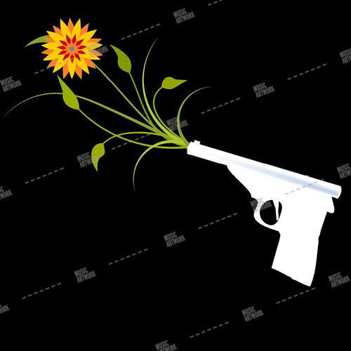 Music album artwork with a gun and a flower