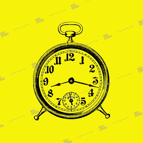 Music album artwork with a clock