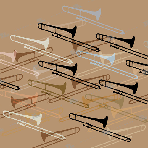 Music album artwork with a trumpet