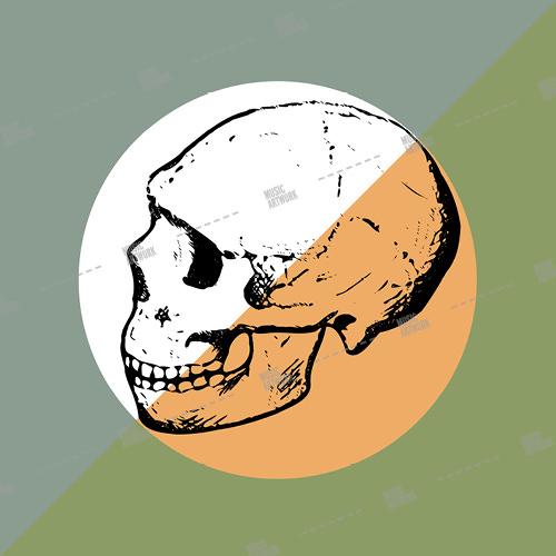 Music album artwork with a skull