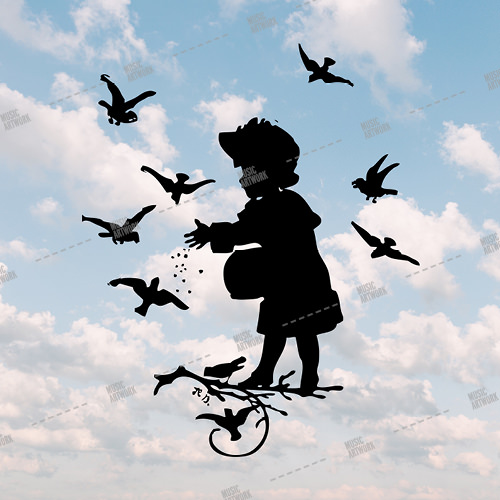 Music album artwork with a little girl on the clouds