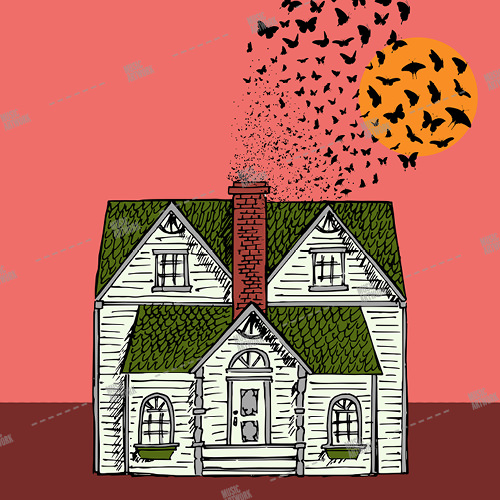 Music album artwork with a house and butterflies