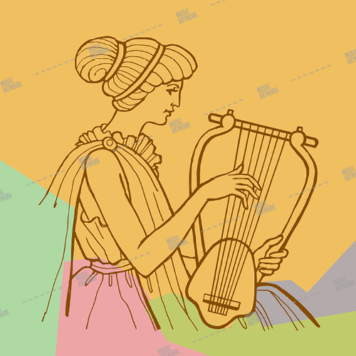 Music album artwork with a girl playing lyre