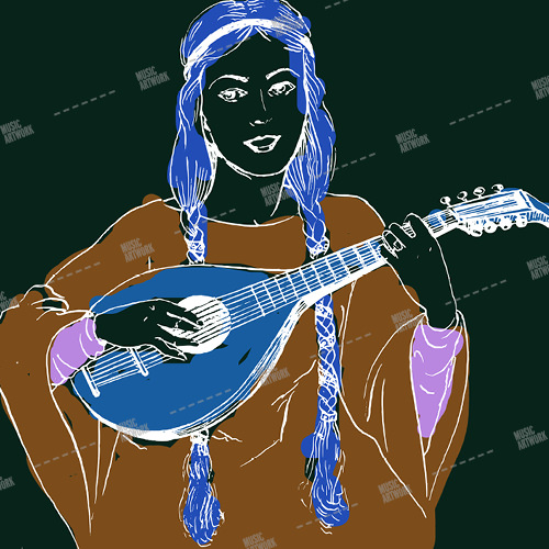Music album artwork with a girl playing lute