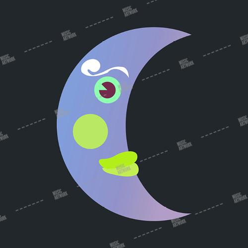 Music album artwork with a purple moon