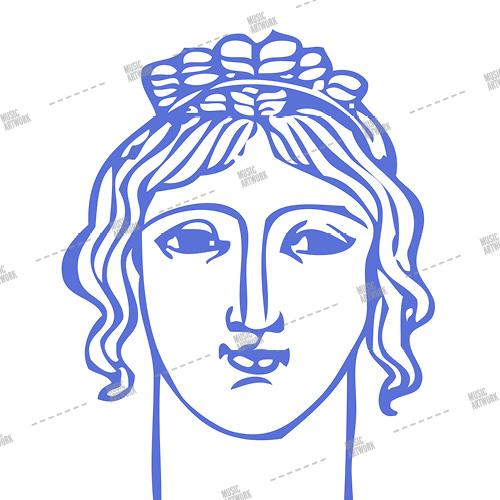 Music album artwork with a female head sketch