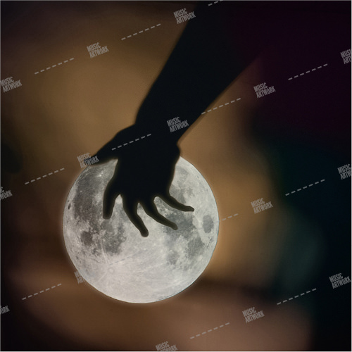 Music album cover showing a hand holding the moon
