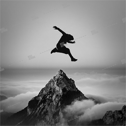 Music album cover showing a man jumping over a mountain