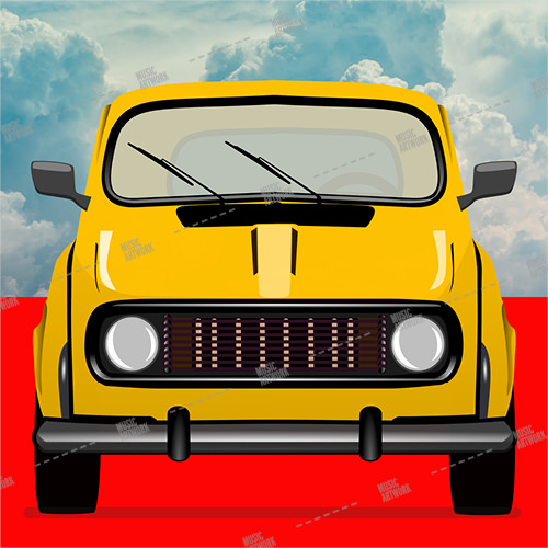 Album cover showing a yellow car