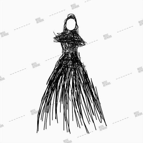 Artwork with a woman wearing a long black dress