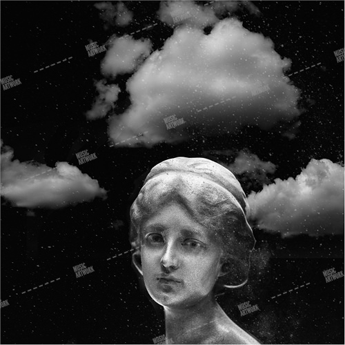 music album artwork with a head of a girl and clouds