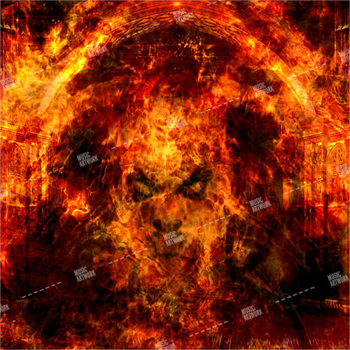 metal style album artwork with a face on fire