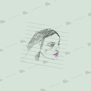 album art with a sketch of a girl