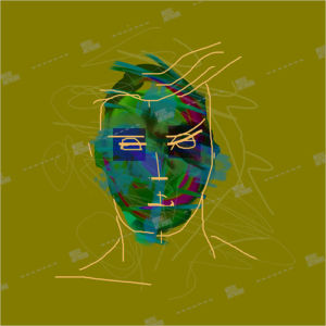 album art with painted head of a man