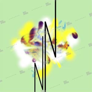 abstract album artwork on green background