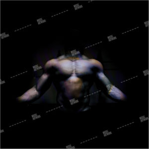 album artwork with muscle man on black background