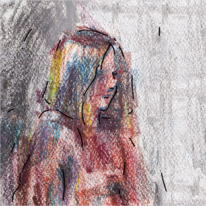 album art with painting of a girl