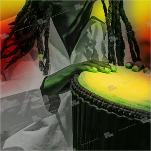 reggae album art, with red, green, yellow