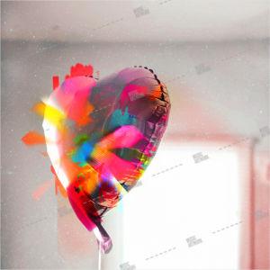 album artwork with coloured balloon