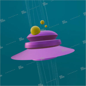 Album art with 3D ufo graphic