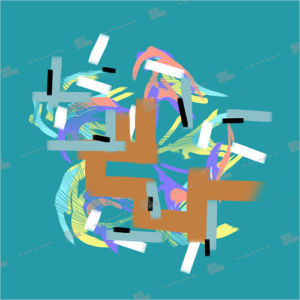 Album artwork with abstract colours