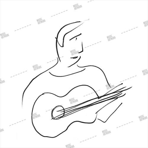 album art with a guitar player sketch