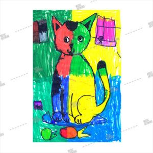 Album artwork design with painted cat