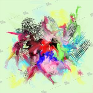 Album artwork design with paint