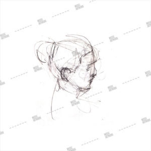 Album artwork design with pencil art and girl