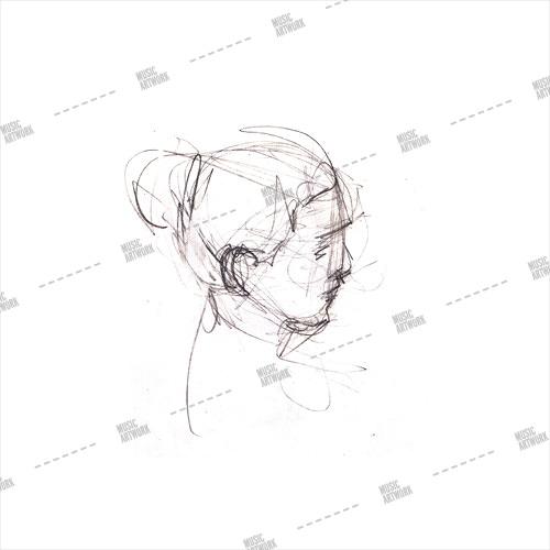 Album artwork design with pencil art and girl
