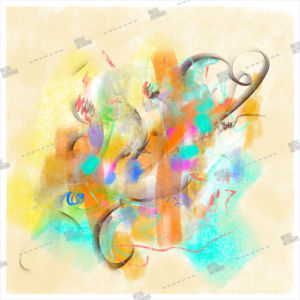 Album artwork design with painted artwork