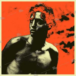 Album artwork design with man / boy on red background