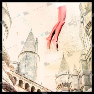 Album artwork with castles, towers and a girl