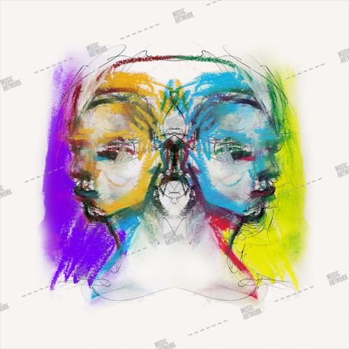 Album artwork design with painted men