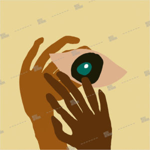album art with hands holding an eye