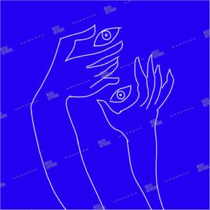 hands holding eyes on blue background artwork
