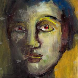 album art with painted portrait
