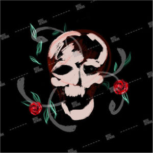 album art with skull and roses
