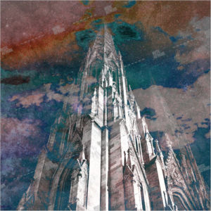 Album artwork design with gothic temple