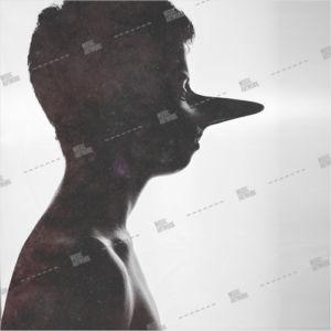Album artwork design with long nose man