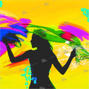 Album artwork design with girl and colors
