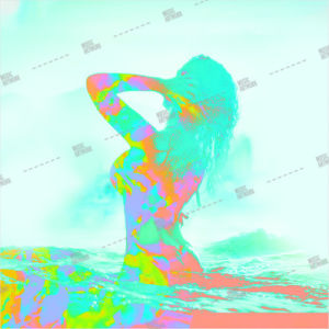 Album artwork design with a woman swimming