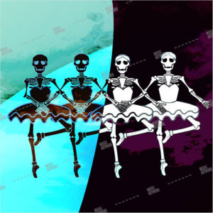 album art with skeletons dancing