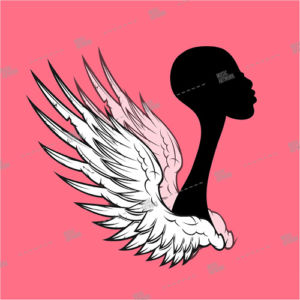 album art with black girl with wings